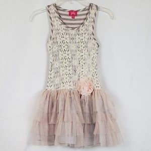Pinky Pink, Gray And Beige Sleeveless Dress
